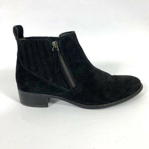 Paul Green 5 7.5 Ankle Boots Black Suede Zipper